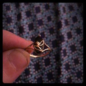 10K Gold Womens Onyx / Diamond Ring sz 6